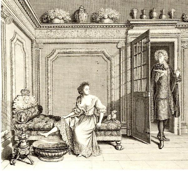 Nicolas Bazin, d'après Jean Dieu de Saint-Jean, Femme de qualité déshabillée pour le bain, 1686, gravure, 37.7x39.7cm, Carnavalet